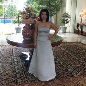 Jessica McClintock Silver A-Line Strapless Dress